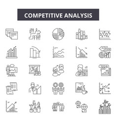 Competitive analysis line icons signs set vector