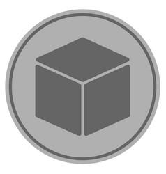 Cube silver coin vector