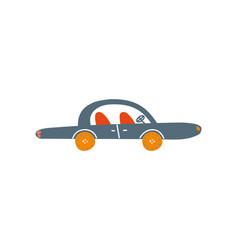cute black car side view cartoon vector image