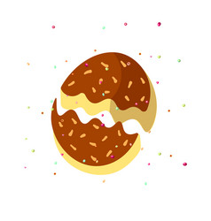 cute cartoon chocolate biscuit cookie on white vector image