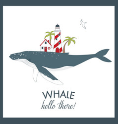 Cute summer card with whale vector