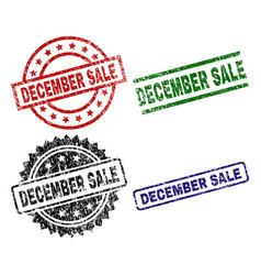damaged textured december sale seal stamps vector image
