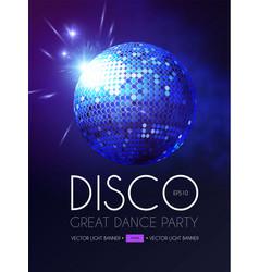 Disco party flyer templatr with mirror ball and vector