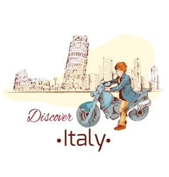 Discover Italy poster vector image