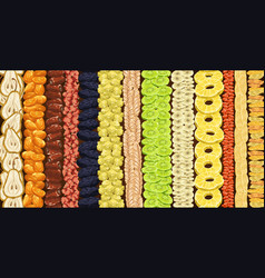 Dried fruits lines on market or shop showcase vector