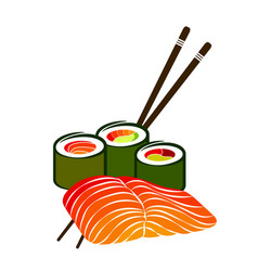Fillet of salmon and sushi vector