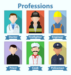 flat profession avatars various job people vector image
