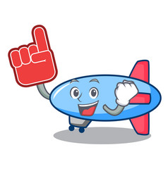 Foam finger zeppelin mascot cartoon style vector