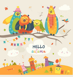Funny owls on autumn branch vector