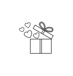 gift box with hearts line icon love present vector image