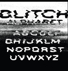 glitch alphabet no signal background error vector image