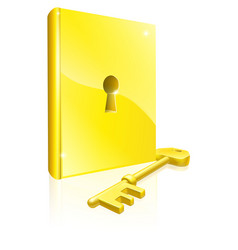 Gold locked book key concept vector