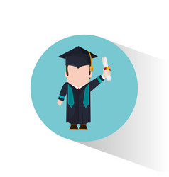 graduate student holding certificate vector image