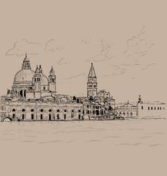 Grand canal and basilica santa maria della salute vector