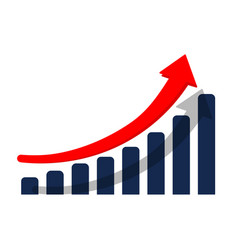 growth graph or diagram with arrow up icon in vector image