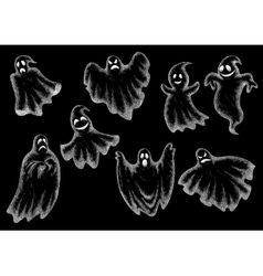 Halloween funny ghosts cartoon chalk icons vector