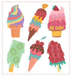hand drawn flat sweet pastel ice cream melted vector image