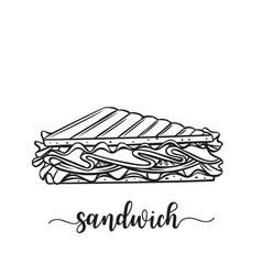 Hand drawn sandwich badge vector