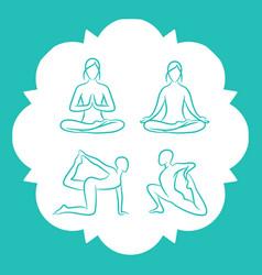 hand drawn yoga poses line vector image