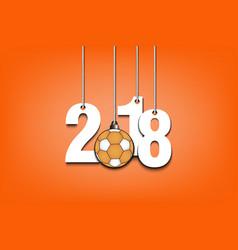Handball ball and 2018 hanging on strings vector