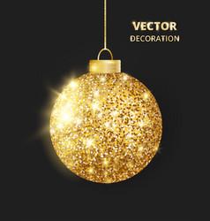 hanging christmas golden ball on black background vector image