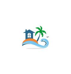 home cottage palm tree resort logo vector image