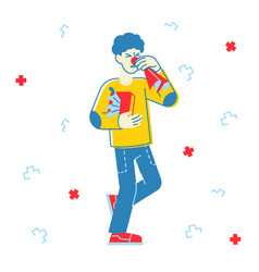 Ill man sneezing diseased male character with red vector