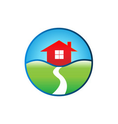 isolated home in the fields icon vector image
