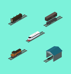 Isometric railway set of lumber shipping depot vector