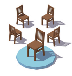 Isometric wooden chair vector