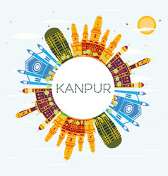 kanpur india city skyline with color buildings vector image