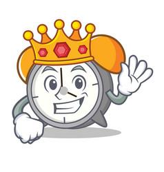 King alarm clock mascot cartoon vector