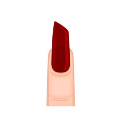 Long burgundy nail on vector