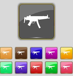 Machine gun icon sign Set with eleven colored vector