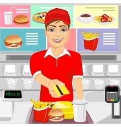Male fast food employee returning credit card vector