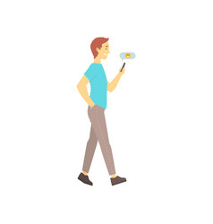 man walking and sending message on his phone vector image