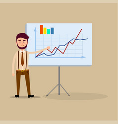 manager standing near placard with charts flat vector image