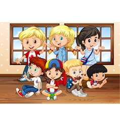 Many children in classroom vector image