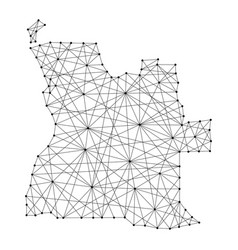 map of angola from polygonal black lines vector image