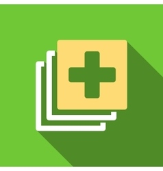 Medical Documents Flat Long Shadow Square Icon vector