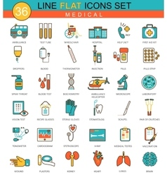 Medical Medicine flat line icon set Modern vector image