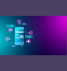 mobile application ui ux design and development vector image