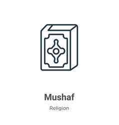 Mushaf outline icon thin line black icon vector