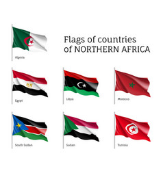 northern africa waving flag set vector image