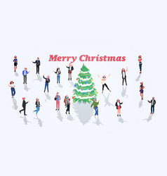 people celebrating merry christmas happy new year vector image