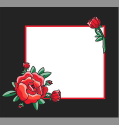 Photo frame design with drawn red roses vector