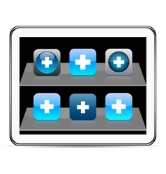 Plus blue app icons vector image