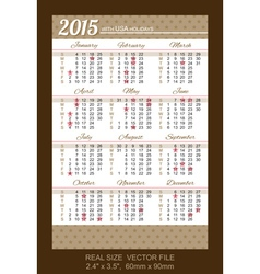 pocket calendar 2015 with USA holidays vector image
