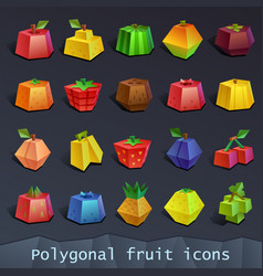 polygonal fruit icons vector image