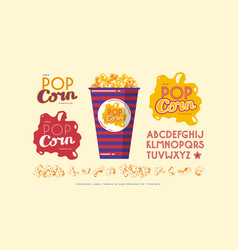 popcorn label template and decorative font vector image